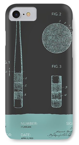 Baseball Bat Patent From 1923 - Gray Blue IPhone Case by Aged Pixel