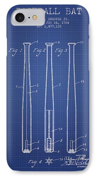 Baseball Bat Patent From 1924 - Blueprint IPhone 7 Case by Aged Pixel