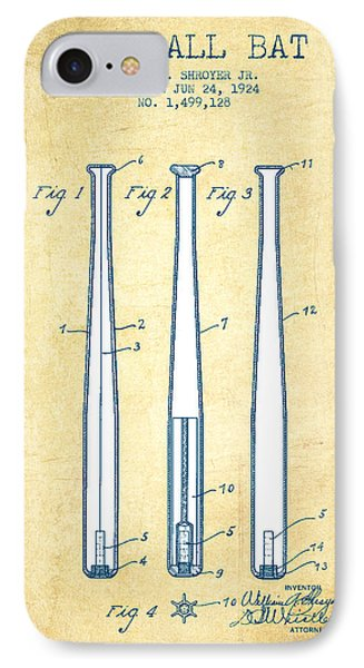 Baseball Bat Patent From 1924 - Vintage Paper IPhone Case by Aged Pixel