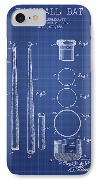 Baseball Bat Patent From 1926 - Blueprint IPhone 7 Case by Aged Pixel