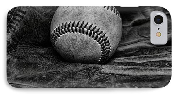 Baseball Broken In Black And White Phone Case by Paul Ward