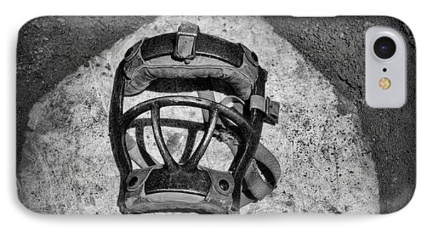 Baseball Catchers Mask Vintage In Black And White IPhone Case by Paul Ward