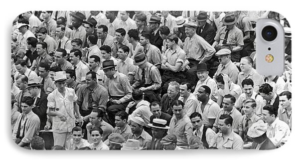 Baseball Fans In The Bleachers At Yankee Stadium. IPhone Case by Underwood Archives
