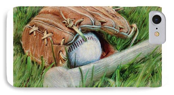 Baseball Glove Bat And Ball IPhone Case by Craig Tinder
