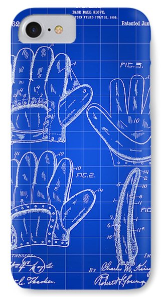 Baseball Glove Patent 1909 - Blue IPhone Case by Stephen Younts