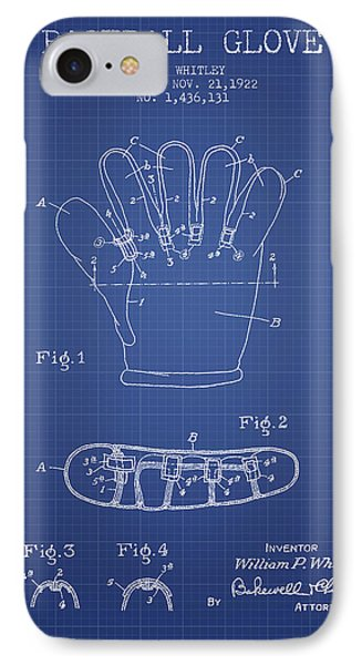 Baseball Glove Patent From 1922 - Blueprint IPhone 7 Case by Aged Pixel