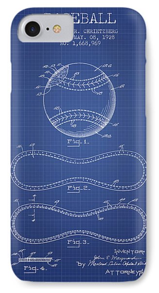 Baseball Patent From 1928 - Blueprint IPhone 7 Case by Aged Pixel
