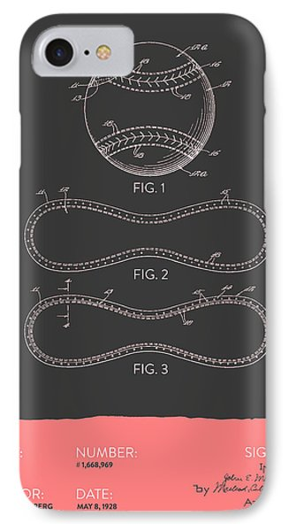 Baseball Patent From 1928 - Gray Salmon IPhone Case by Aged Pixel