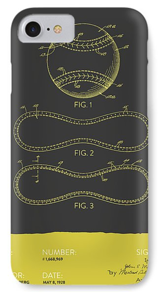 Baseball Patent From 1928 - Gray Yellow IPhone Case by Aged Pixel