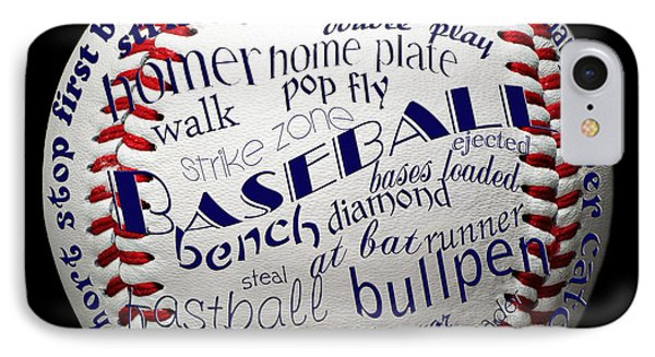 Baseball Terms Typography 1 IPhone Case by Andee Design
