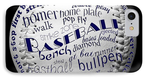 Baseball Terms Typography 2 IPhone Case by Andee Design