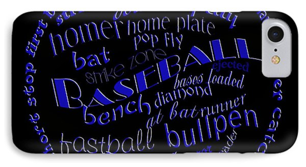 Baseball Terms Typography Blue On Black IPhone Case by Andee Design