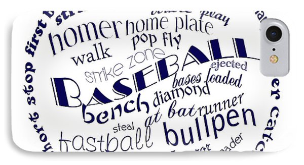 Baseball Terms Typography Blue On White IPhone Case by Andee Design