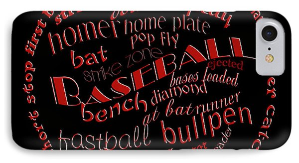 Baseball Terms Typography Red On Black IPhone Case by Andee Design