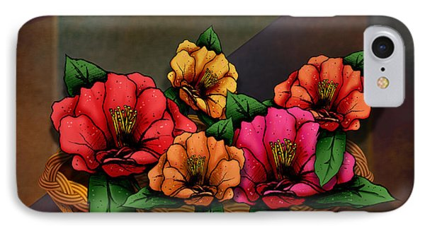 Basket Of Hibiscus Flowers Phone Case by Bedros Awak