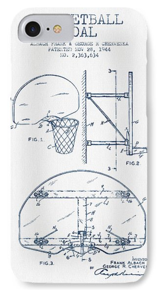 Basketball Goal Patent From 1944 - Blue Ink IPhone 7 Case by Aged Pixel