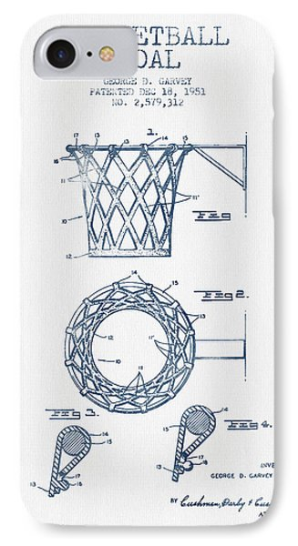 Basketball Goal Patent From 1951 - Blue Ink IPhone 7 Case by Aged Pixel