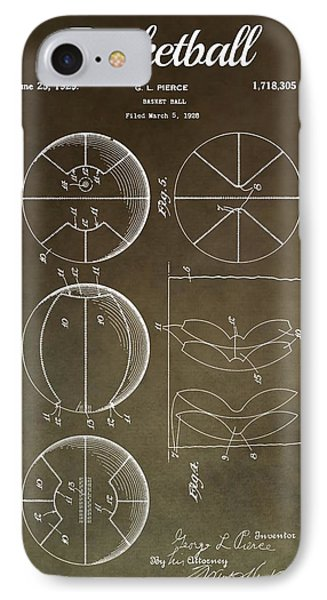 Basketball Patent Antique Brown IPhone Case by Dan Sproul
