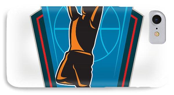 Basketball Player Rebounding Ball Shield Retro Phone Case by Aloysius Patrimonio