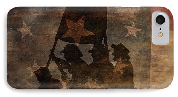 Battle Flag Silhouette 1st Of Three Phone Case by Randy Steele