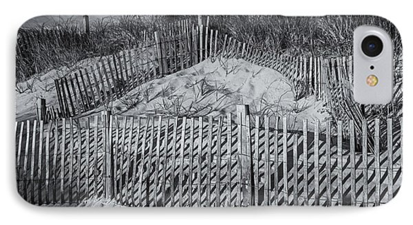 Beach Fence Bw Phone Case by Susan Candelario