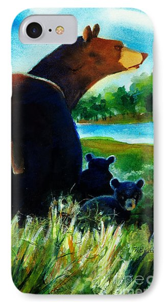 Bear Family At The Lake IPhone Case by Kathy Braud
