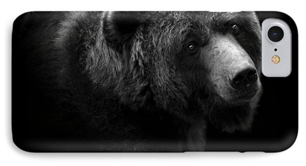 Portrait Of Bear In Black And White IPhone Case by Lukas Holas