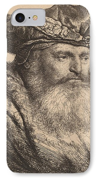 Bearded Man In A Velvet Cap With A Jewel Clasp IPhone Case by Rembrandt