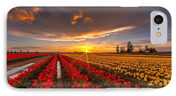 Beautiful Tulip Field Sunset IPhone 7 Case by Mike Reid