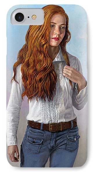 Becca In Blouse And Jeans IPhone Case by Paul Krapf