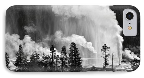 Beehive Geyser Shower In Black And White Phone Case by Bruce Gourley