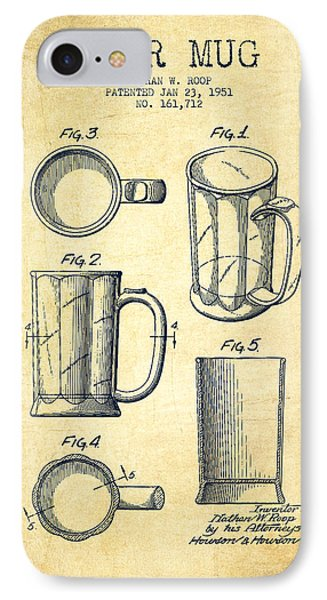 Beer Mug Patent Drawing From 1951 - Vintage IPhone Case by Aged Pixel