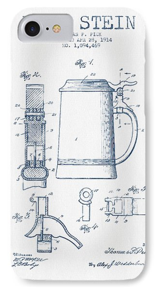 Beer Stein Patent From 1914 -  Blue Ink IPhone Case by Aged Pixel