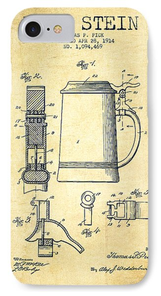 Beer Stein Patent From 1914 -vintage IPhone Case by Aged Pixel