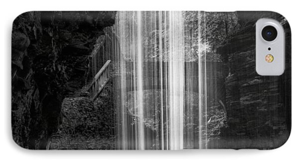 Behind The Falls Black And White Square IPhone Case by Bill Wakeley