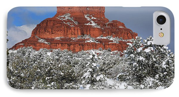Bell Rock With Snow IPhone Case by Donna Kennedy