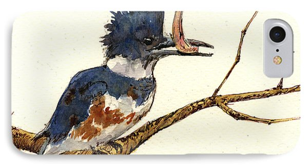 Belted Kingfisher Bird IPhone Case by Juan  Bosco