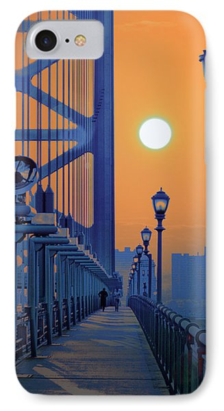 Ben Franklin Bridge Walkway IPhone Case by Bill Cannon