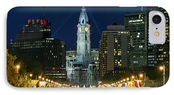 Ben Franklin Parkway And City Hall IPhone 7 Case by John Greim