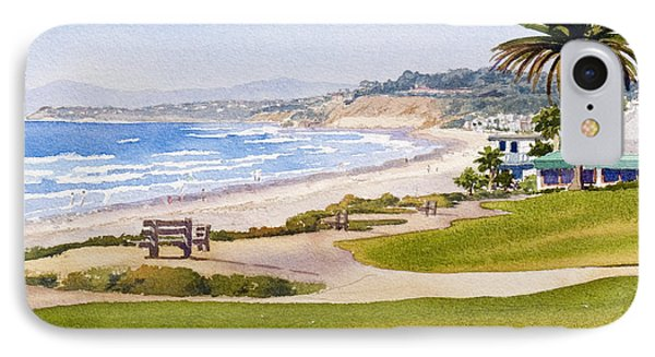 Bench At Powerhouse Beach Del Mar IPhone Case by Mary Helmreich