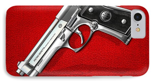 Beretta 92fs Inox Over Red Leather  IPhone Case by Serge Averbukh