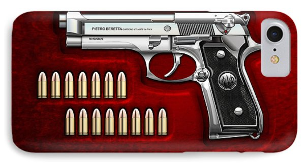 Beretta 92fs Inox With Ammo On Red Velvet  IPhone Case by Serge Averbukh