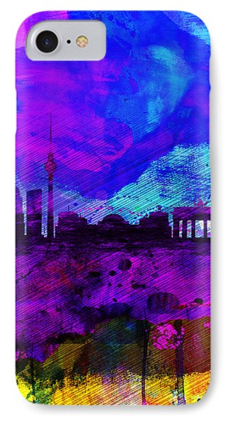 Berlin Watercolor Skyline IPhone 7 Case by Naxart Studio
