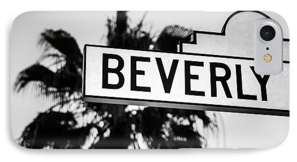 Beverly Boulevard Street Sign In Black An White IPhone Case by Paul Velgos