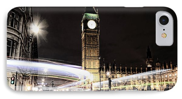 Big Ben With Light Trails IPhone 7 Case by Jasna Buncic