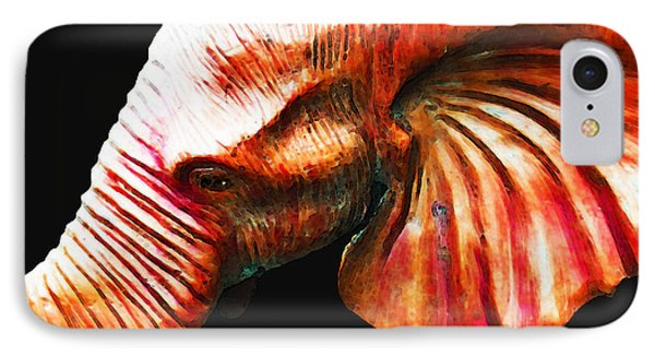 Big Red - Elephant Art Painting IPhone Case by Sharon Cummings