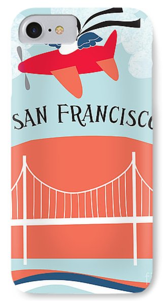 Bird In Plane Over San Francisco IPhone Case by Karen Young
