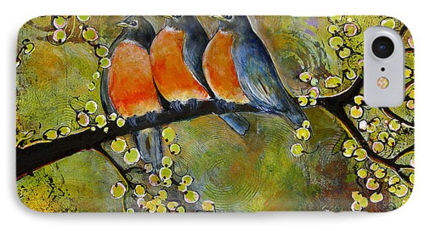 Three Little Robin Birds IPhone Case by Blenda Studio