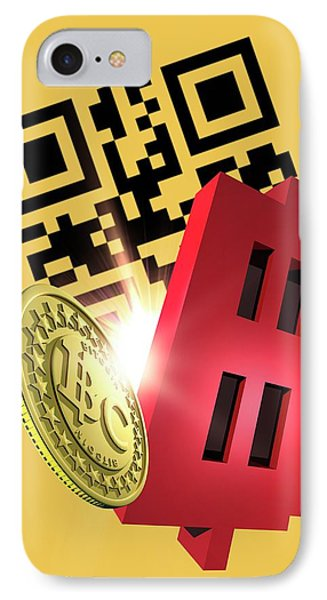 Bitcoin And Qr Code IPhone Case by Victor Habbick Visions