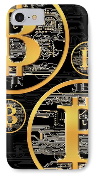 Bitcoin Logo On Circuit Board IPhone Case by Victor Habbick Visions